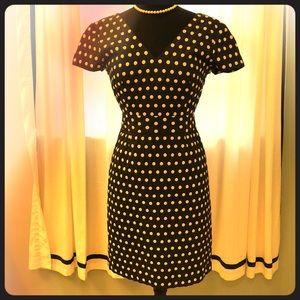 Navy/Cream dot Banana Republic dress Sz 2